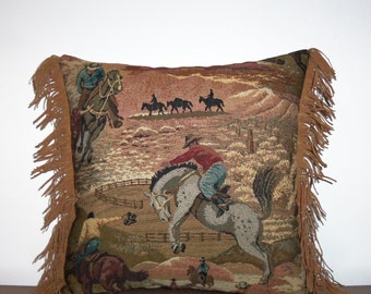 Western Pillow Sunset Cowboy Rodeo Tapestry Pillow Southwestern