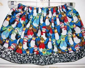18m Christmas Skirt Girls Skirt with Penguins Skirt Penguin Party Winter Skirt Snowflakes baby skirt toddler skirt Penguin Dress LAST ONE