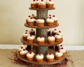 Cupcake or Pastry Stand (Tower / Holder) Four (4) Tier for Wedding, Birthday, Shower, Anniversary, Special Event - Rustic Wood Wooden