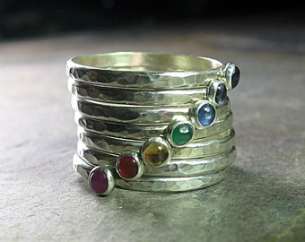 7 Chakras Stacking Rings sterling silver gemstone stackable chakra rings hammered yoga jewelry