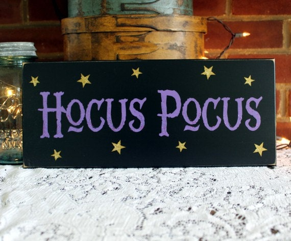 Halloween Sign Hocus Pocus Wood Sign Witch Magic Plaque Wall Decor
