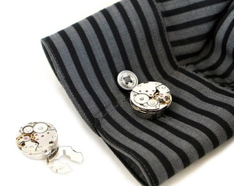 Steampunk Silver Perfectly Matched Cuffless Cufflinks with Vintage Watch Movements by Velvet Mechanism