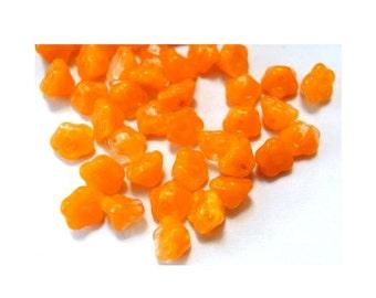 25 Glass beads, Czech glass flower beads bell shape opaque orange 7mmx5mm, NEW
