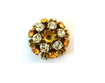 SWAROVSKI flower BEAD antique vintage  metal flower with yellow and clear crystals- RARE