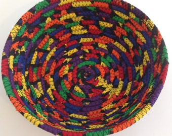 Round Coiled Fabric Bowl, Bright Colors