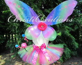 Butterfly Tutu Costume - Girl Halloween Outfit - Wings, Tutu, Antenna Headband