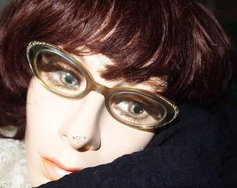 Vintage 50s Rhinestone Cats Eye Glasses Spectacles Eye Glass Frames
