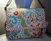 SALE-Secret Garden Messenger/Diaper Bag in Grand Tapestry Paprika Ready to Ship