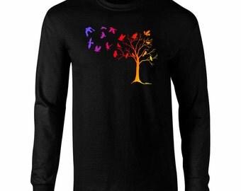 Long Sleeve Crows in Flight Art T-Shirt