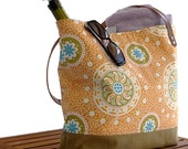 Resort Tote, Paisley and Waxed Canvas with Brown Leather Straps