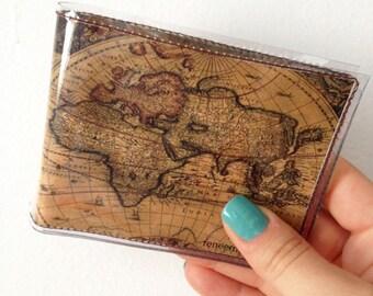 Mens Ancient World Maps bifold vinyl wallet
