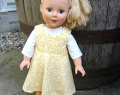 Yellow Floral Print Jumper with White Blouse Fits 18 inch Doll