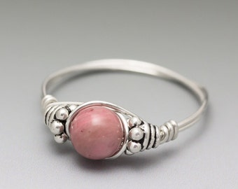 Pink Thulite Zoisite Bali Sterling Silver Wire Wrapped Bead Ring - Made to Order, Ships Fast!