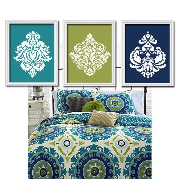 Teal navy wall art bedroom pictures canvas or prints for Teal wall art