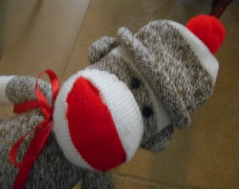 Sock Monkey  Rockford Red Heel  Valentines Day Classic New Original Will Personalize  Free