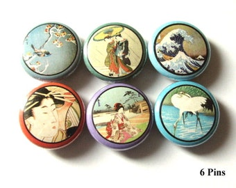 """Asian Theme 1"""" PINBACKS PINS BADGES retro Geisha Crane Wave Japanese buttons woodblock flair party favors stocking stuffers magnets gifts"""