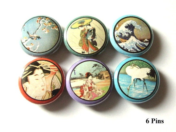 "Asian Theme 1"" PINBACKS PINS BADGES retro Geisha Crane Wave Japanese buttons woodblock flair party favors stocking stuffers magnets gifts"