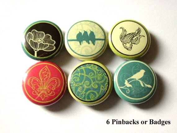 "Retro Birds Koi Fluer de lis 1"" PINBACKS PINS BADGES bird on a wire flower buttons party favors stocking stuffers flair accessories gifts"