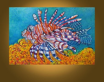 The Lionfish -- 20 x 30 inch Original Painting by Elizabeth Graf on Etsy