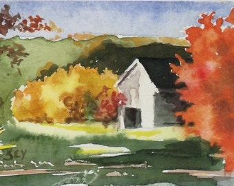 "ACEO Original - Watercolor Painting - 2 1/2"" x 3 1/2"" - Autumn Landscape Painting - Fall Leaves - Colored Leaves - Artist Trading Cards"