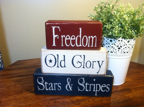 Distressed wood blocks home decor Americana patriotic 4th of July red white and blue primitive blocks