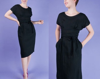 BLACK CORSET Vintage 50s Hourglass Audrey Dress with Pockets s/m Small Medium