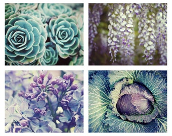 Nature Photography Set - Purple and Green - Pale Aqua Mint Garden Art - Lilac Wisteria Sedum Plants - 5x7 prints