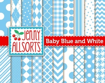 Baby Blue Digital Scrapbook Papers - 20 Graphic Patterns - Instant Download