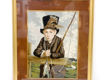 Vintage Artwork / Young Country Gentleman Cross Stitch Wall Decor