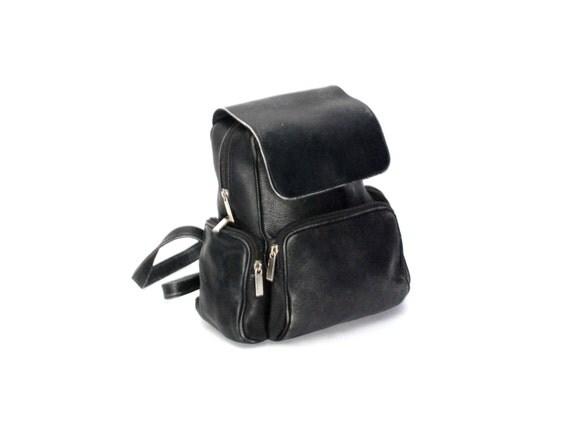 GRUNGE black leather 80s 90s BACKPACK hobo mini knapsack