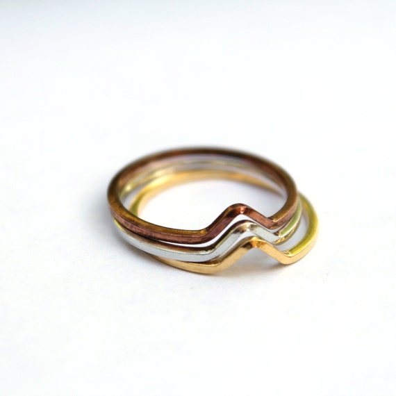 vintage stacking rings size 6 gold silver copper 3