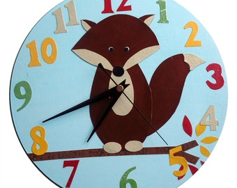 Fox Clock / Children's Wall Clock / Nursery Decor - Blue, Pink