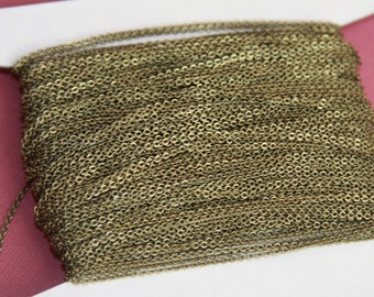 10ft of Antiqued Brass Very Flat Soldered Cable Chain 1.5mm