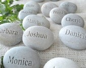 Place setting and wedding favors , personalized guest gifts - Set of 10 engraved stones with Guests' Names - Unique wedding favor