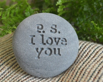 p.s. i love you - Engraved message on stone - Ready Gift by sjEngraving