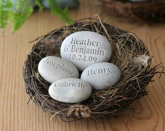 Family Nest ~ Housewarming, Anniversary gift - set of 4 personalized name stones in bird nest by sjEngraving
