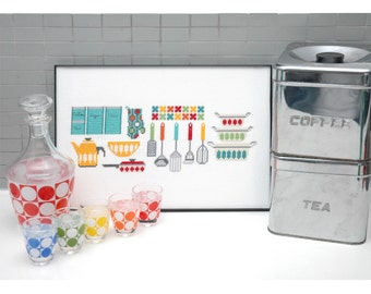Kitchen Gadgets Motifs Cross Stitch Pattern Instant Download