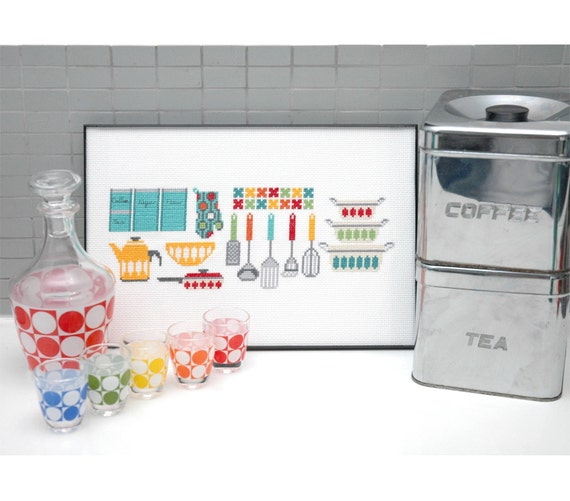 Kitchen Gadgets Motifs Cross Stitch Pattern Instant Download