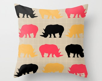 Rhinoceros Decorative throw pillow cover - Animal pillow cover - Modern pillow cover - Sofa pillow - Couch pillow - contemporary bedding