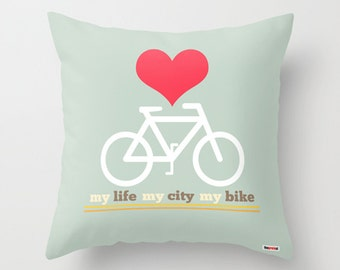 Bicycle Throw Pillow Cover -Bike Pillow Cover -Teal Modern Pillowcase -Home Decor Trends - heart pillow - Modern pillow - Decorative pillow