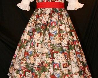 ADORABLE Christmas KITTENS Cats Dress CUSTOM Size