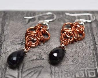 Aura chainmaille earrings in copper and sterling silver with onyx