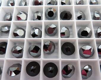 6 Jet Hematite Unfoiled Swarovski Crystal Chaton Stone 1088 39ss 8mm