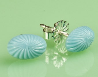 Vintage Oval Blue Glass Button Post Earrings