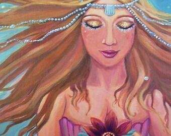 Mermaid Wish - Original acrylic on canvas panel painting.