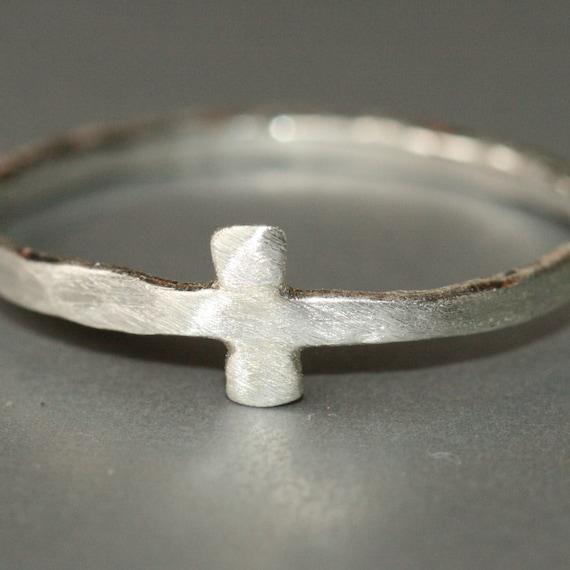 Mens Cross Ring, Size 11, Rustic Cross, Sideways Cross Ring, Faith Jewelry, Christian Jewelry,  Fine Silver Maggie McMane Designs