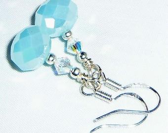 Lovely Lt BLue Aqua Crystal & Sterling Earrings