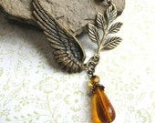 Vintage style angel wing necklace, steampunk, amber glass beads, brass wing necklace, womens jewelry