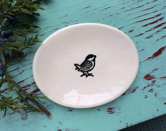 Small Oval Dish with Chickadee