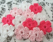 Crochet Pink and White Flowers Mini Flowers Crochet Flower Appliques